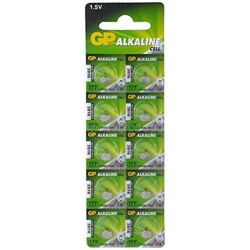 GP - Pilas alcalinas 177F, AG4, LR626 1,5 V / 10 unidades