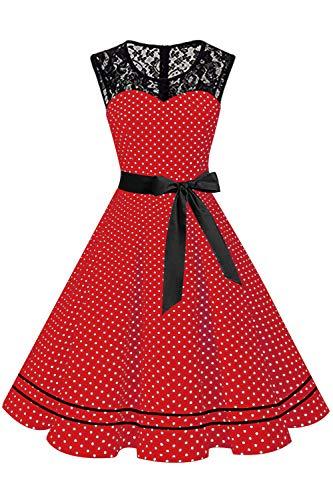 MisShow Damen 50er Jahre Kleid Gepunkt Spitzen Retro Fasching Kleider Petticoat Kleider FS3779 Rot S