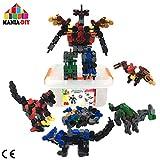 Bau Bausteine 4 in 1 |144 Stück, um 4 Dinosaurier zu bauen, die zusammengebaut und in einen großen Roboter verwandelt werden können | Technisches Spielzeug für Kinder von 6 7 8 9 10+ Jahre alt