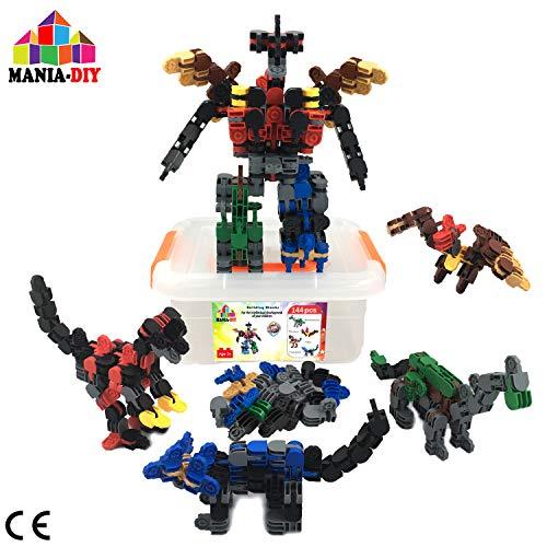 MANIA-DIY Bloques de construcción 4 en 1 | 144 pzs para Construir 4 Dinosaurios Que se Pueden ensamblar y Transformar en un Gran Robot| Juguete de ingeniería para niños 6 7 8 9 10+ años | Gran