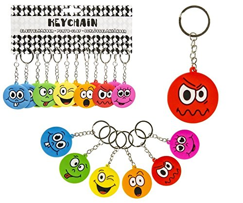 LG-Imports 12 x Schlüsselanhänger Lachgesicht aus Gummi ca. 4,5 cm Ø - Smiley Lg Gummi