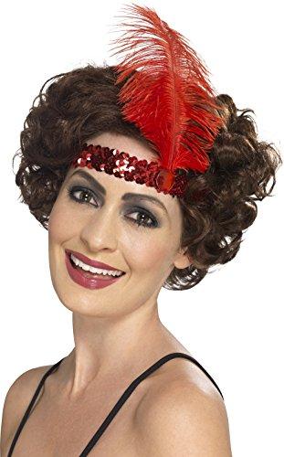Flapper Pailletten Stirnband (Smiffys, Damen Flapper Stirnband mit Feder, One Size, Rot,)