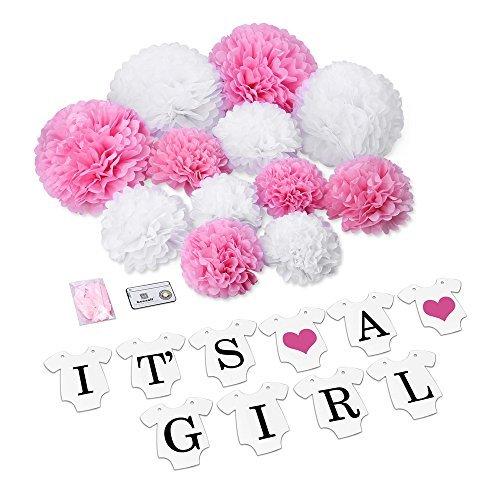 Konsait Ist es EIN Mädchen Girlande Set, It's a Girl Girlande Banner und Papier Pom Poms Pink/Weiß Babyparty Set (12ST) für Baby Shower Deko Geburtstag