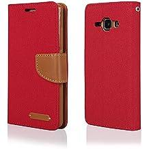 EGO® Etui Tipo Libro Carcasa con Función de Soporte para Samsung Galaxy J1 J100 Rojo Carcasa con Cierre Magnético con Ranuras para Tarjetas Cartera Protección de Lienza para móvil