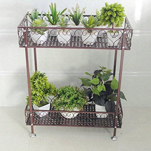 JCRNJSB® Porte-fleurs, Fer à double couche Balcon au sol Balcon à fleurs Ensemble à étagère intérieur et extérieur Bonsai Pliable, support de fleurs ( Couleur : Bronze , taille : 120*20*12cm )