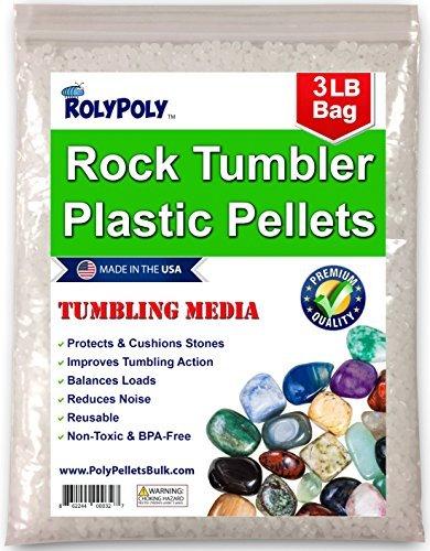 Plastic Poly Pellets Rock Tumbling Media (3 LBS) for Rock Tumbler, Stone Tumbler, Rock Polisher, Filler Beads,...