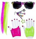 shoperama 80's Neon Girl Set de Accesorios de Disfraz años Ochenta Madonna Disco Pop achtziger Mujer Gafas Guantes Extensions Pendientes