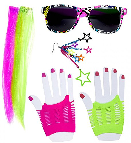 80's Neon Girl Kostüm-Zubehör Set 80er Jahre Madonna Disco Pop Achtziger Damen Brille Handschuhe Extensions Ohrring