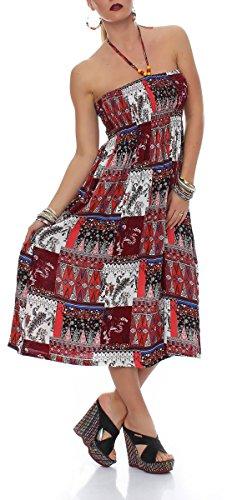 malito more than fashion - Robe - Trapèze - Femme Bleu Bleu Rouge - Rouge