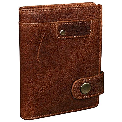 STILORD 'Milo' Vintage Ledergeldbörse Herren braun / Portemonnaie mit Druckknopf / Brieftasche / Geldbörse Hochformat Antik Leder, kara - braun
