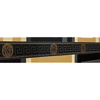 a039a15b73c Versace Wallpaper Border Black Gold Luxury Satin Modern Designer Greek Key