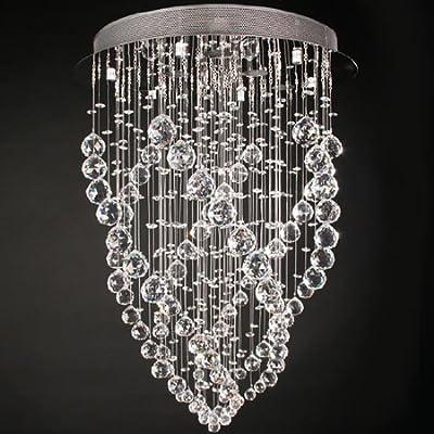 Deckenleuchte Kronleuchter mit Kristallglas 70cm lang 50W 6 x Fassung GU10 von Jago auf Lampenhans.de