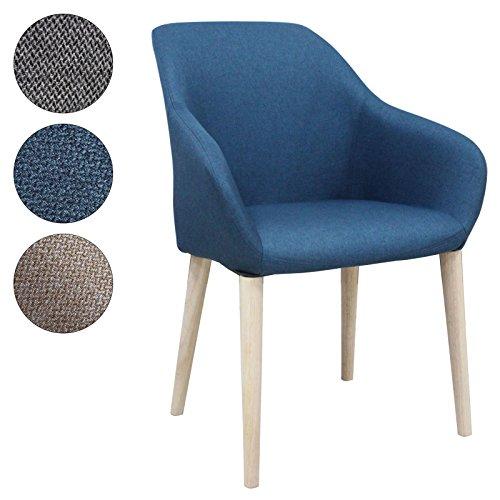 SVITA Polsterstuhl Stuhl Küchen-Stuhl Stoff Holz-Beine Retro Vintage Stil Esszimmerstuhl bequem (blau, S1) -
