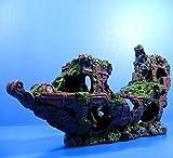 Niedriger ship-wreck 42,9x 9,9x 19,3cm (43x 10x 19,5cm) Aquarium Ornament Decor Boot Antike Schiff Höhle