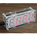KKmoon 4-Digit DIY LED Electronic Clock Kit Microcontroller 0.8inch Digital Tube Clock with Thermometer Hourly Chime Function DIY Kit Module