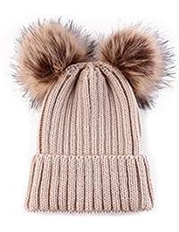 Gorro de lana para invierno HMILYDYK con doble pompón de piel sintética 2f27d4da79b