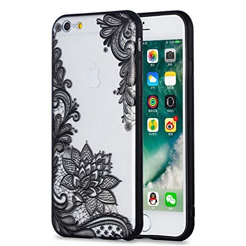 Huphant Silikon Transparent Case iPhone 6 / iPhone 6S Hülle, Silikon Lace Mandala Hülle TPU + PC Hard HandyHülle schutzhülle für iPhone 6 / iPhone 6S -Schwarze Blume