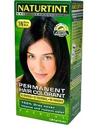 Naturtint Coloration capillaire naturelle permanente - Ingrédients bio - 100% couvrant - Couleur 1N Noir ébène
