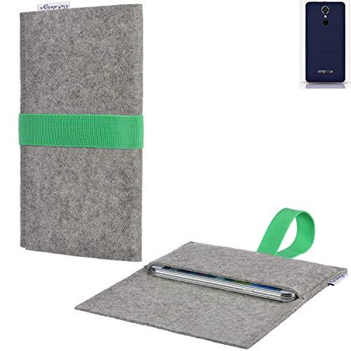 Handyhülle AVEIRO mit Filz-Deckel und Gummiband-Verschluss für Emporia emporiaSMART.2 - Sleeve Case Etui Filz Made in Germany hellgrau grün - passgenaue Smartphone Tasche für Emporia emporiaSMART.2