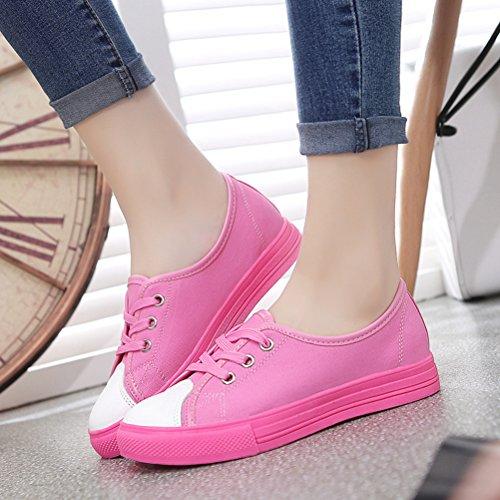 Damen Einfache Schnürsenkel Gummi Sohle Anti-rutsch Studentinen Stil Bonbonfarbe Flache Sneakers Rot