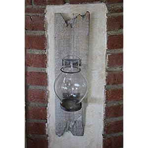 Rustikale Wanddeko Mit Windlicht, Holz/Glas/Metall, Ca. 45 Cm Hoch