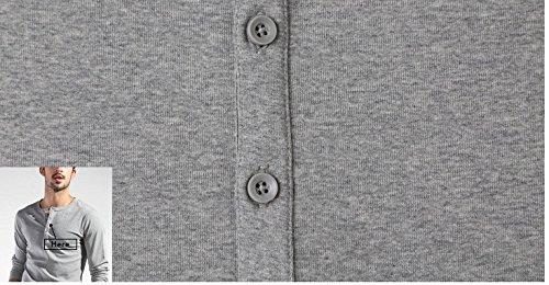 BOMOVO Herren Langarm Fashion Freizeit Langarm Shirt Slim Fit Grau