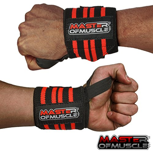 Master of Muscle Handgelenkbandagen Elastischer Handgelenkschutz für Krafttraining, Bodybuilding, Fitness. u.v.m - Kraftsport-Zubehör mit Gratis Anleitung - Wrist Wraps für Männer - ROT