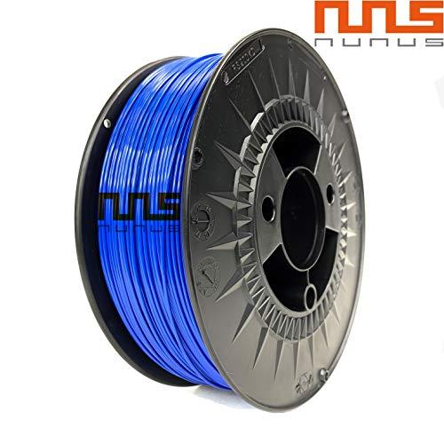 NuNus PETG Filament 1KG - 1,75mm Polyethylenterephthalat Lebensmittelecht Filament *Premium Qualität in verschiedenen Farben geeignet für 3D Drucker, 3D Pen, MakerGear Ultimaker uvm (1.75mm, blau)