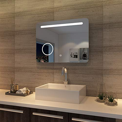 sunnyshowers LED Bad Spiegel 80 x 60cm wandspiegel Badezimmer Lichtspiegel Badspiegel mit Beleuchtung mit Kosmetikspiegel, Touchschalter