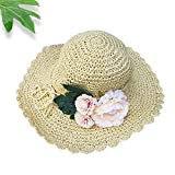 Women's Summer Sun Hat Straw Hat Cotton Ladies hats / girl fashion Beach Hat Women Sunscreen Solid color Floppy Hats , white Wide Brim Foldable.have Windproof rope. big flowers Design cap. (2666 white)