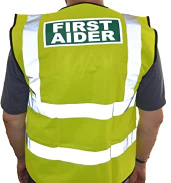 Hi Vis First Aider Waistcoat - Choice of Sizes and Colours (S, Hi Vis Yellow)