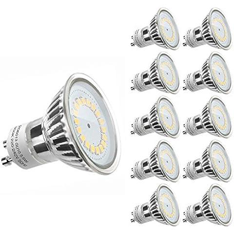 LE Bombillas GU10 LED 3.5W = 50W Halógena, Blanco cálido, 350lm, Pack de 10