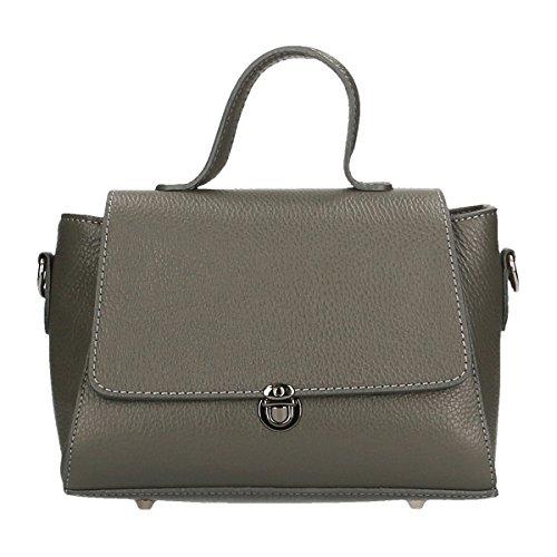 CTM Femmes Bowling Petit sac en cuir véritable Made in Italy 25x17x11 Cm Gris