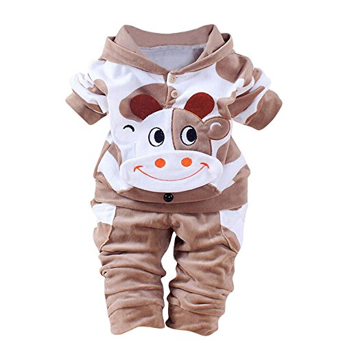 Hmeng Baby Jungen Mädchen Overall Hoodie Strampler Outfit Langarm Creepers Bodysuit Kleidung (Braun, 80)