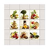 Bilderwelten Adesivo per Piastrelle - Colorful Ingredients - Mix 15cm x 15cm, Set da: 9 Pezzi