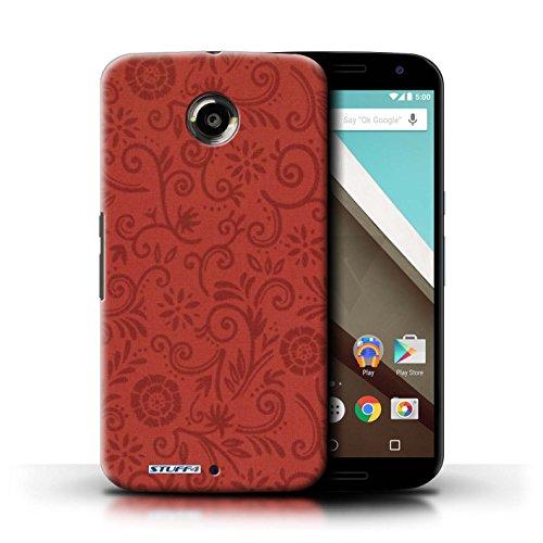 Kobalt® Imprimé Etui / Coque pour Motorola Nexus 6 / Fleur pourpre conception / Série Motif Remous floral Fleur rouge