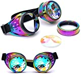 Clearance Sale!OverDose Ins Hot Kaleidoscope Colorful Glasses Rave Festival Party EDM Sunglasses Diffracted Lens(Multicolor)