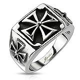 Autiga Ring Edelstahl Herren Massiv Biker Eisernes Kreuz Bandring Celtic Siegelring silber-schwarz 67 - Ø 21,39 mm