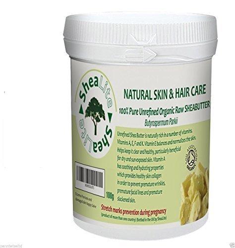 SheaLite Brut, brut, Naturel Ivoire beurre karité - 100% Pure- Parfaitement Meilleur Bénéfices Pour La Santé pour tous peau et cheveux organique certifié par Soil Association - 100g