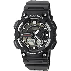 Casio De los hombres 'resistente' resina de cuarzo reloj automático, color: negro (modelo: aeq110W-1av)