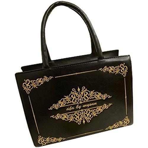 Partiss Damen Magic Book Bibel Shaped Tasche Schwarz Gothic Lolita Handtasche Umhaengetasche Cosplay Shouldertasche Messenger Lolita Handbags (Handtasche Gothic Lolita)