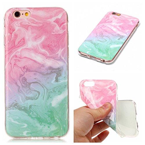"""Coque iPhone 6s, SsHhUu Ultra Mince [Marbre Pattern] Flexible Caoutchouc Doux TPU Skin Case Bumper Silicone Gel Anti-Scratch Cover pour Apple iPhone 6 / 6s (4.7"""") Rose-Blanc-Noir Rose-Vert"""