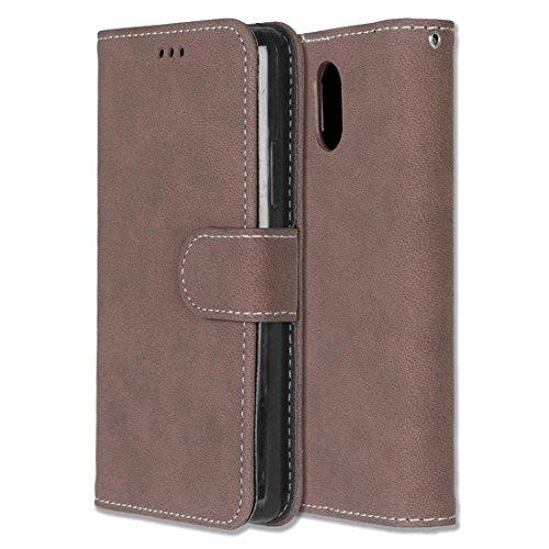 Chreey Lenovo Vibe P1m Hülle, Matt Leder Tasche Retro Handyhülle Magnet Flip Case mit Kartenfach Geldbörse Schutzhülle Etui [Braun]