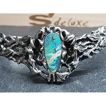 Armspange mit Boulder Opal aus 925er Silber, Organisches Design, Unikat, Handarbeit