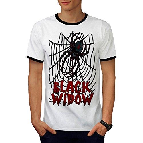 Schwarz Witwe Spinne Angst Das Netz Herren M Ringer T-shirt | (Beerdigung Kostüm Schwarze Witwe)