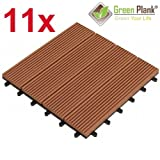 Green Plank 11 STÜCK = 0,99 m² WPC KLICK-FLIESEN 30x30 CM MITTELBRAUN - 70% HOLZANTEIL (FICHTE)