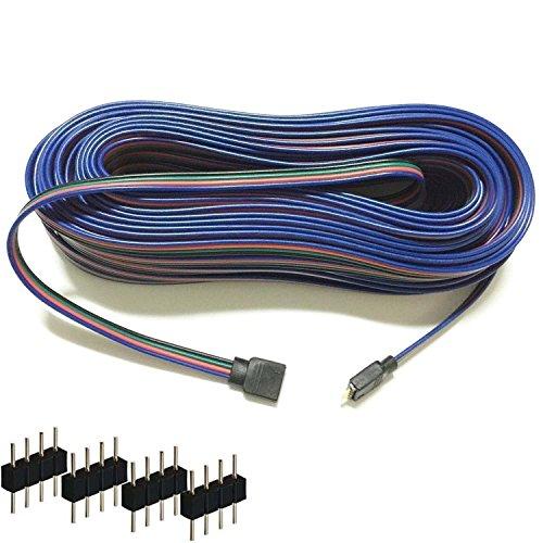 Kabenjee 4-polig RGB5050 RGB3528 LED Streifenlicht Verlängerungskabel,LED Klebeband Licht 10m/33FT Layout Verteiler Kabel,LED Strip Band Lampe Stromversorgungsverlängerungs Kabel verbinder