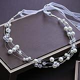 GongDi Tiara Hairwear Coreano Cristallo Fatto a Mano Bianco da Damigella Sposa Accessori Corona Perla Fiore Fascia dei Capelli Fascia