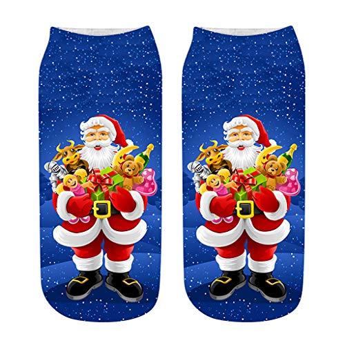 LSAltd Damen Thermal Kurz Socken aus Baumwolle Weihnachten 3D Print Socken Erwachsene Unisex Socken Frauen Socken Dame Socken Mädchen Socken Lässige Socken -