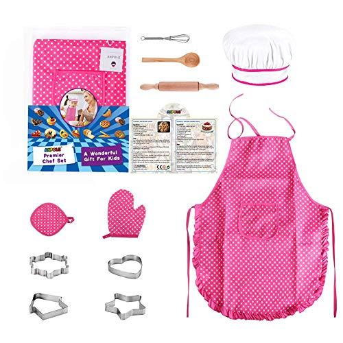(Anpole 11PCS Kochschürze Set für Kinder, Kinderkochset Kinder Kochen Spiel Küche Wasserdicht Backen Schürzen, Ofenhandschuh, Schneebesen, Ausstechformen Anzieh Kostüm Play Set für Mädchen)